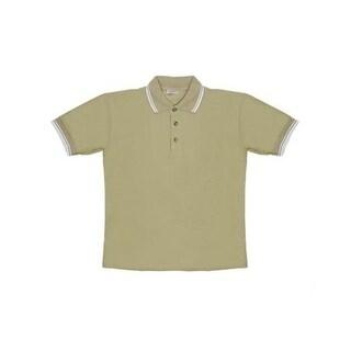 Men's Khaki Knit Pullover Golf Polo Shirt - Large
