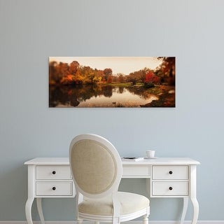 Easy Art Prints Panoramic Images's 'Pond in a park, Central Park, Manhattan, New York City, New York State' Canvas Art