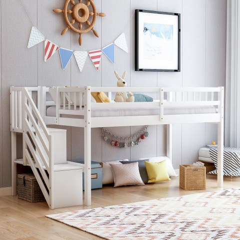 Merax Twin Wood Floor Loft Bed with Stairs and Storage Shelves