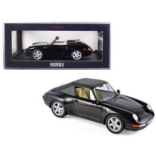 1993 Porsche 911 Carrera Cabriolet Black 1/18 Diecast Model Car by Norev