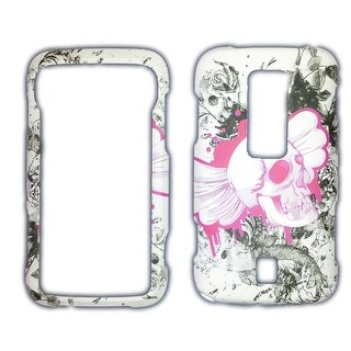 Snap-On Case for for Samsung Freeform II R360 (White/Pink Skulls)