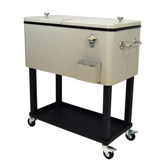 35.5 Beige Steel 20-Gallon Party Cooler Cart with Built in Bottle Opener