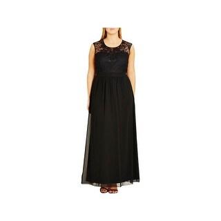 City Chic Womens Plus Maxi Dress Lace Sleeveless