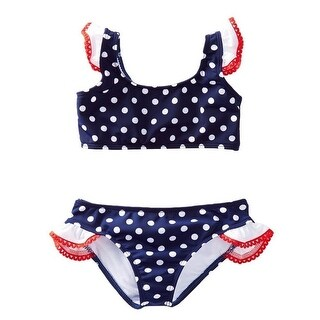 Azul Baby Girls Navy Red Tic Tac Dot Ruffle Bandeau 2 Pc Bikini Swimsuit