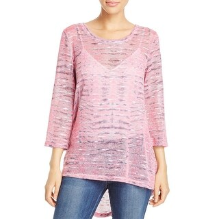 Nally & Millie Womens Pullover Sweater Open Stitch Printed