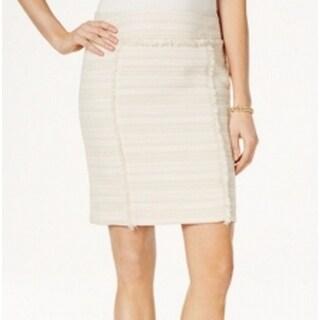 Kasper NEW White Ivory Fringe Tweed 16P Petite Straight Pencil Skirt