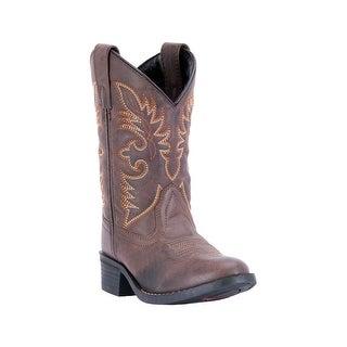 Laredo Western Boots Boys Leather Unit R Toe Cowboy Tan LC2453