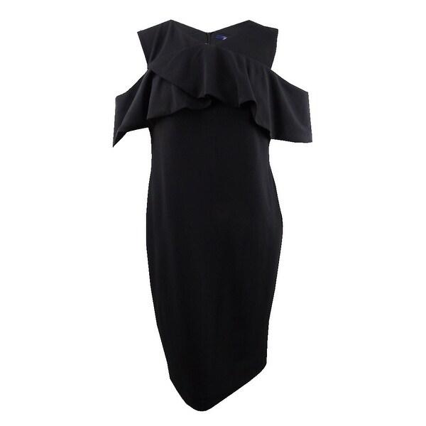 Rachel Rachel Roy Women\'s Plus Size Cold-Shoulder Scuba Dress (16W, Black)  - Black - 16W