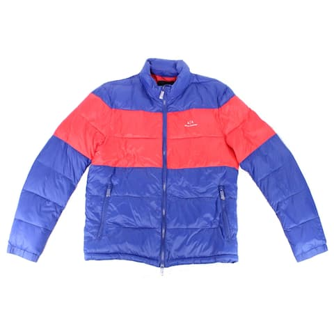 Armani Exchange Mens Jacket Blue Red Size Large L Colorblock Puffer