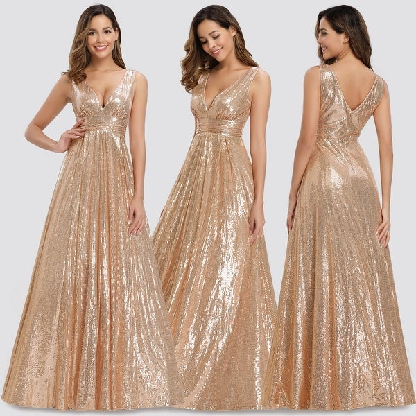 Ever-pretty Long V-neck Sequins Evening Gowns Cocktail Party Dresses Homecoming