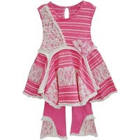 Isobella & Chloe Baby Girls Hot Pink Valentine Two Piece Pant Outfit Set 3M-24M