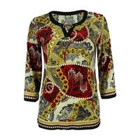 JM Collection Women's 3/4 Sleeve Embellished Jersey Top - red london rich