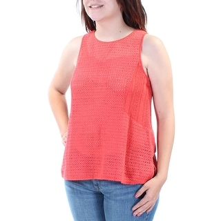 SANCTUARY Womens Red Textured Sleeveless Jewel Neck Trapeze Top  Size: S