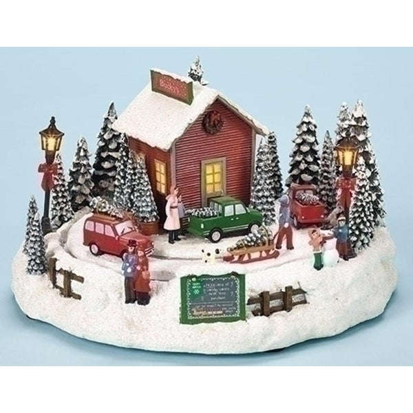 """Set of 2 Amusements LED Lighted Animated and Musical Rotating Tree Farm Christmas Table Top Decoration 7"""""""