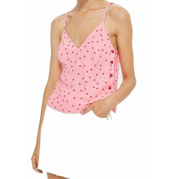 TopShop Pink Red Polkadot Print Women's Size 6 Tank Cami Knit Top