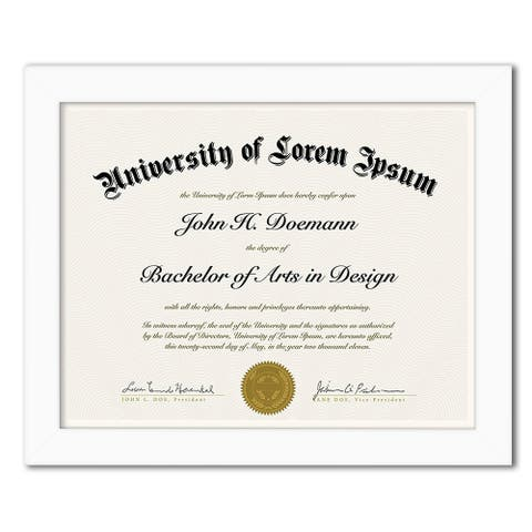 """Americanflat Diploma Frame in White Wood -8.5"""" x 11"""""""