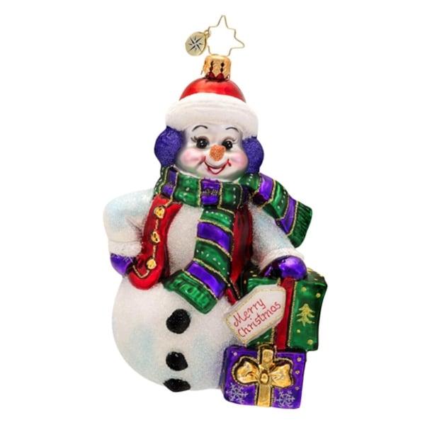 Christopher Radko Glass Snowy Gift Pose Snowman Christmas Ornament #1017507 - WHITE