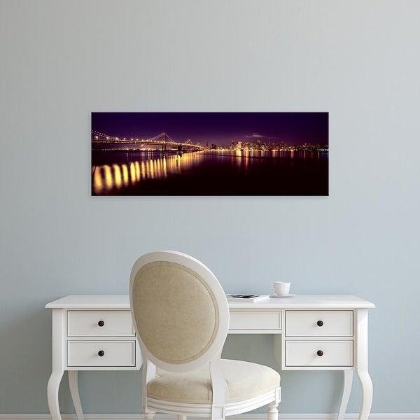 Easy Art Prints Panoramic Image 'Bridge lit up, Bay Bridge, San Francisco Bay, San Francisco, California' Canvas Art