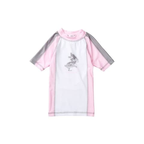 Azul Baby Girls Pink Gray Short Sleeve Trendy Solid Combo Rash Guard