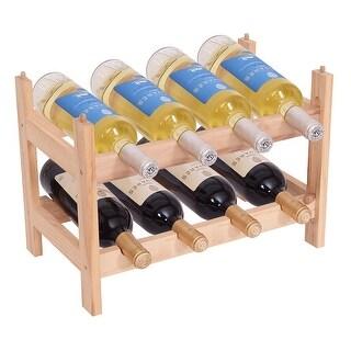 Gymax Wood 2 Tier 8 Bottle Wine Rack Holder Storage Shelves - burlywood