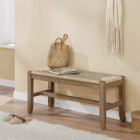 The Gray Barn Enchanted Acre 40-inch Wood Bench with Rush Seat