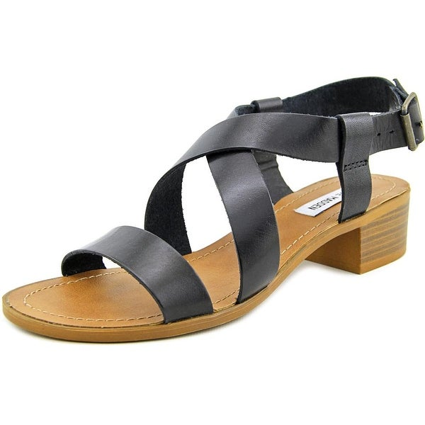Steve Madden Lorelle Women Open Toe Leather Black Sandals