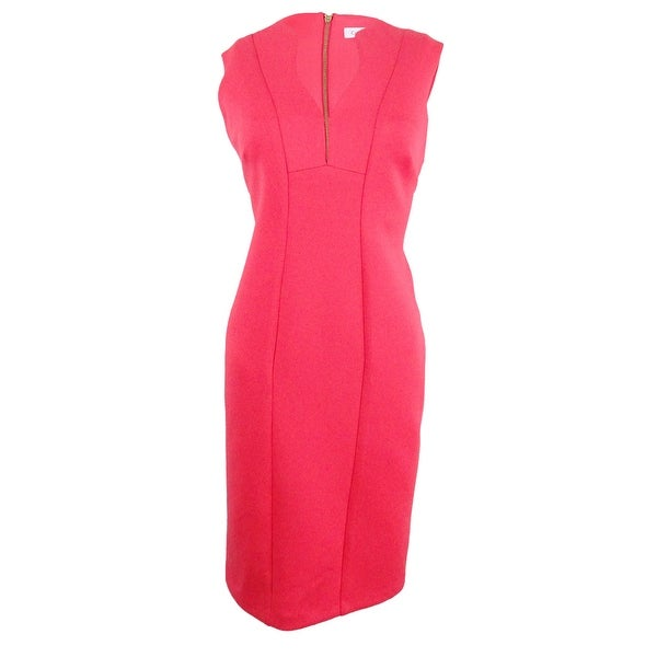 65aef5a4 Shop Calvin Klein Women's Scalloped V-Neck Sheath Dress - Free ...
