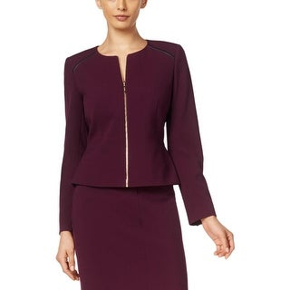Calvin Klein Womens Petites Blazer Faux Leather Trim Long Sleeves