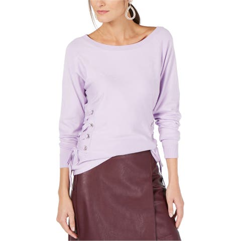 I-N-C Womens Lace Up Sides Pullover Sweater, purple, Large