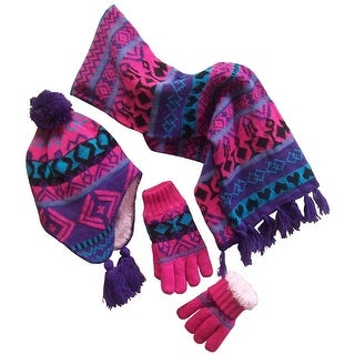 NICE CAPS Big Girls Sherpa Lined Geo Print Hat/Scarf/Glove Knitted Set - purple/turq/fuchsia/black - 7-12yrs