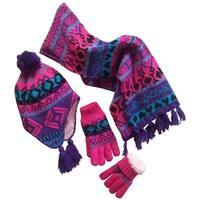 NICE CAPS Big Girls Sherpa Lined Geo Print Hat/Scarf/Glove Knitted Set - purple/turq/fuchsia/black - 7-12yrs