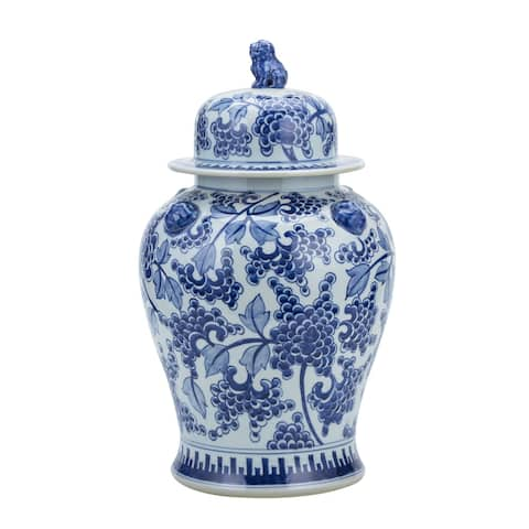 Blue & White Peony Temple Jar with Lion Handles