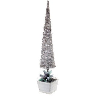 """Pack of 2 Snowy White Topiary in a Wood Base 40"""""""