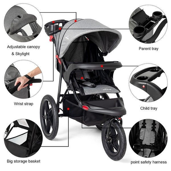 Lightweight Foldable Infant Baby Stroller Jogger All-terrain w// Cup Phone Holder