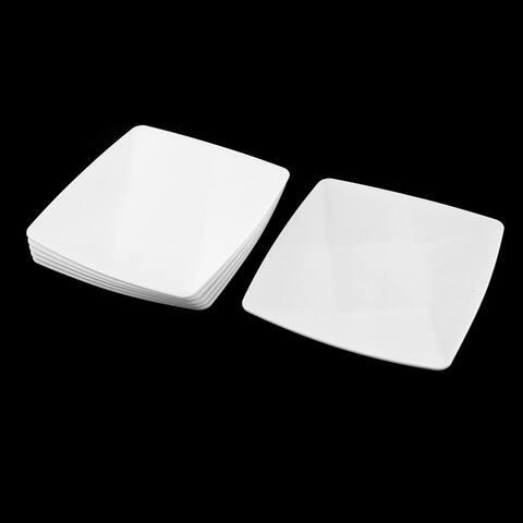 Unique Bargains Home Restaurant Plastic Square Shaped Lunch Food Dish Plate 13cmx13cm 6 Pcs