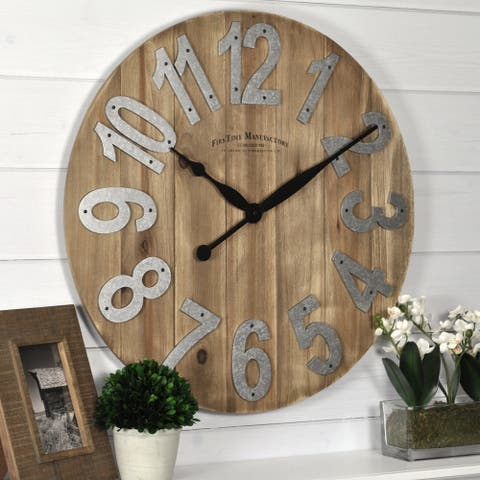 FirsTime & Co.® Farmhouse Slat Wood Wall Clock, American Crafted, Tan, Solid Wood, 22.5 x 2 x 22.5 in - 22.5 x 2 x 22.5 in