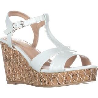 callisto Aspenn T-Strap Wedge Sandals, White