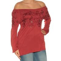 Womens Red Long Sleeve Off Shoulder Casual Top  Size  S