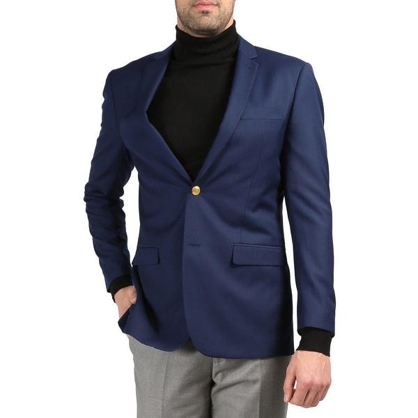 Men's Warwick Gold Button Slim Fit Blazer. Opens flyout.