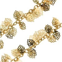 Bright Gold Plated 10mm Oak Leaf Charm Chain - Bulk By The Inch