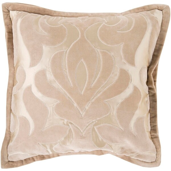 "18"" Beige and Light Brown Royal Damask Decorative Throw Pillow"