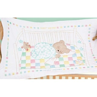 """Stamped White Quilt Crib Top 40""""X60""""-Snuggly Teddy"""