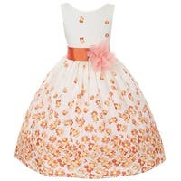 Kids Dream Little Girls Orange White Daisy Special Occasion Dress 6-12