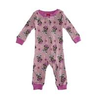 Disney Baby Girls Pink Minnie Print Zipper Closure Sleepwear Jumper