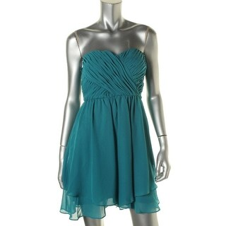 Hailey Logan by Adrianna Papell Womens Juniors Cocktail Dress Chiffon Pleated