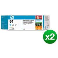 HP 91 775-ml Light Cyan DesignJet Pigment Ink Cartridge (C9470A) (2-Pack)