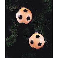 Set of 10 Soccer Ball Sport Christmas Lights - Green Wire - WHITE