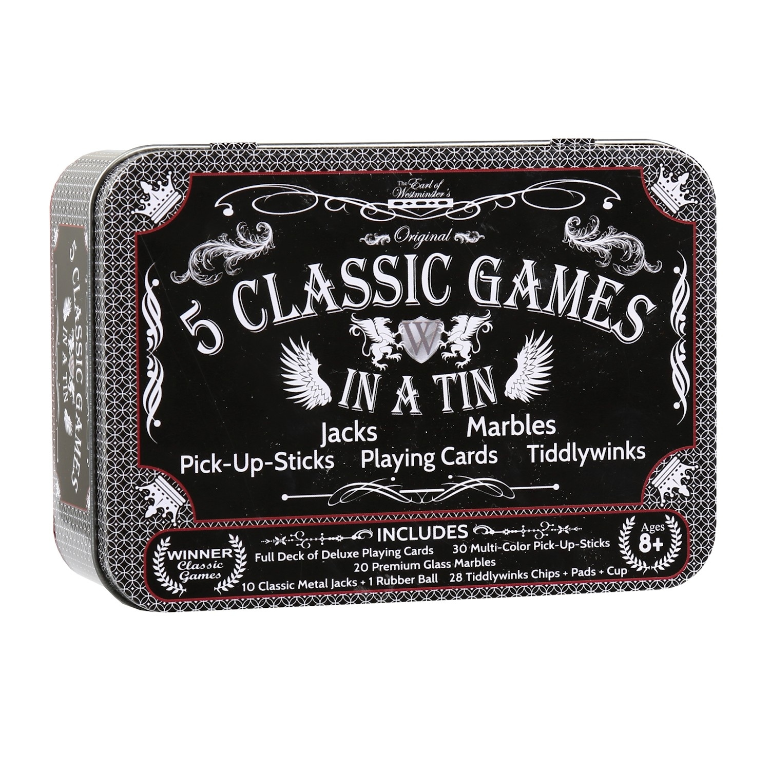 5 Classic Games In A Tin Marbles Jacks Tiddlywinks Pick Up Sticks Cards