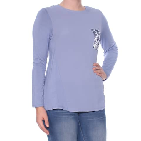 NY COLLECTION Womens Blue Textured Long Sleeve Jewel Neck Top Size: S