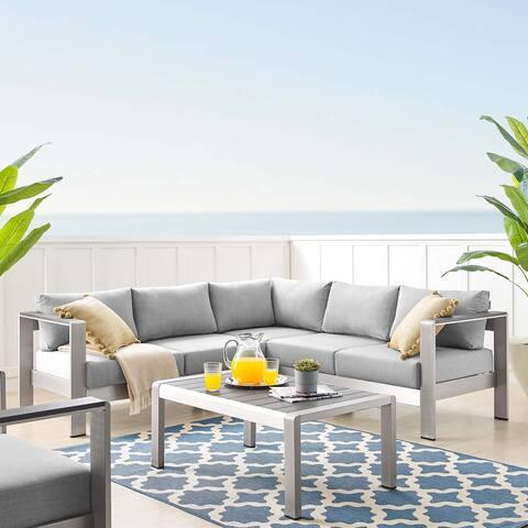 Shore Sunbrella Outdoor Patio Aluminum 4 Piece Sectional Sofa Set